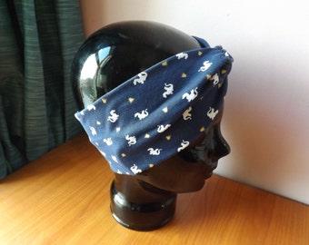 Navy Dragons Faux Knot Turban Style Headband