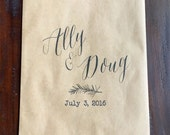 Kraft Favor Bag, Wedding Favor, Bat Mitzvah Favor Bag - Printed - Mini