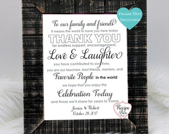 Wedding Welcome Sign Reception Signage Thank you Family and Friends Thank You, To Our Family, Table Sign, Wedding Decorations 8x10 NO FRAME
