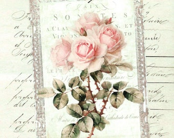 Tags, Roses, Vintage Style, Gift Tags, Pink Roses, Party Favors, Rose Tags
