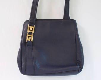 Vintage Leather Purse - Blue Jacqueline Ferrar Handbag with gold toned decor