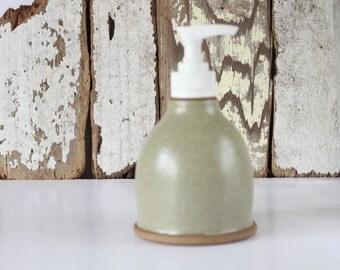 Ceramic Soap Dispenser / Soap Dispenser with Pump / Beige Soap Dispenser / Ready to Ship