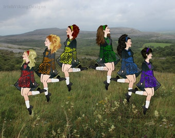 Irish Dancers, rainbow, Irish dance, Ireland, Irish art, illustration print, Irish Dancer gift, Irish countryside, dancers, Irish pub decor