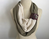 Womens Trendy Khaki Army Green Infinity Scarf Cowl with Ivory Lash Asymmetrical Accent and Faux Leather Cuff
