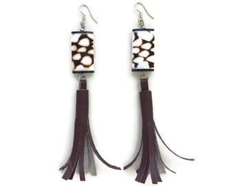 Trendy Women's Shell and Faux Leather Long Tassel Earrings in Burgundy, Brown, White