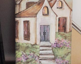 Painting on crate, Church painting on boards, Religious art, Wall Decor, Home decor item, Folk art style painting, Wine crate art, Religious