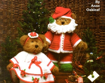 Mr and Mrs Santa Claus Knit or Crochet Red White Christmas Holiday Outfit for Twelve Inch Plush Stuffed Teddy Bears Craft Pattern Leaflet 40