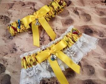 Softball Yellow Satin White Lace Ready to ship Baseball Charm Wedding Garter Toss Set
