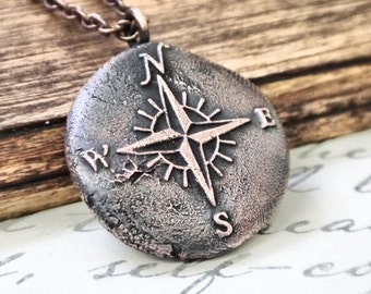 Golden Compass Necklace, Wax Seal Jewelry, North South East West Pendant, Cardinal Directions Marine Pendant, Gift for Sailors,