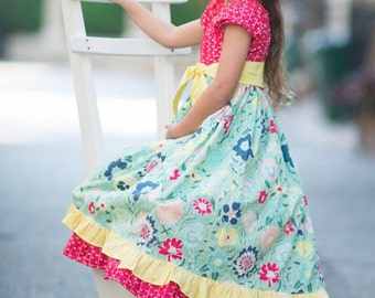 Meadow Melodies (coordinating line) twirl peasant dress and sash, size 6mos.-10 girls