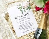Wedding Welcome Note, Printable Wedding Welcome Bag Letter, Thank You, Ivory Botanical, Itinerary, Agenda, Hotel Card - INSTANT DOWNLOAD