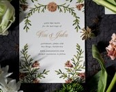 Colorful Floral Save the Date, Floral Wedding Invitation, Flower Invitation, Vintage Wedding Invitation, Botanical Save the Date