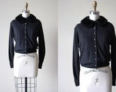 1950s Sweater -  Vintage 50s Vegan Friendly Black Cardigan w Faux Fur Peter Pan Collar and Rhinestones M L - Danella Sweater