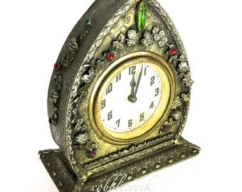 Antique Clock Not Working Jeweled Shabby Decorative