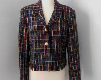 1990s woven silk Doncaster short cropped jacket. Size 10. Multicolor plaid. Lined. Shoulder pads.