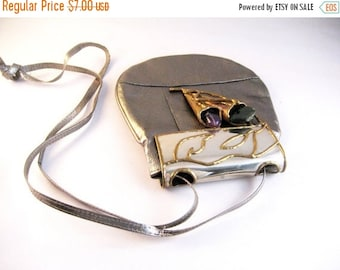 HOLIDAY SALE Vintage bronze leather cross body shoulder bag with copper steel amethyst. Lilies motif.