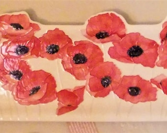 POPPIES  XXL Ceramic-Watercolor Textured Wall Hanging sculpture  original handmade art by Faith Ann Originals v