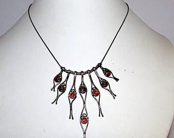 Vintage Art Deco Avant Garde 925 Amber Fringe Necklace