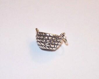 Beautiful Sterling Silver Basket Charm, Market Basket, Shopping Basket, Charm Bracelet or Necklace Supply, 925 Sterling