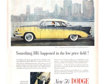 1956 Dodge Vintage Ad, 1956 Dodge Coronet Lancer, Vintage Car Ad, 1950's New York Skyline, Advertising Art, Push-Button Driving.