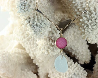TRENDING 24K Gold Plated Sterling Silver Hammered Chevron Pendant, Bright Pink Druzy and Rare Pale Blue Genuine Sea Glass Necklace