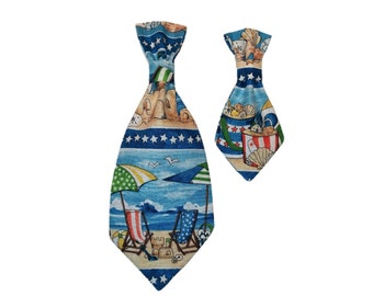 Beach Dog Tie - Blue Cat Tie - Summer Pet Accessory