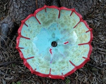 "READY TO SHIP Amazing Large Flower Red Petal Rim Lotus Inspired Sculptural Blue Cream Gold Turquoise Crystalline Glazed Vessel Sink 16"" Wide"