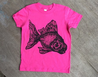 SALE CLEARANCE / goldfish / Black Moor Fish hand drawn design on American Apparel kids tee in hot pink .