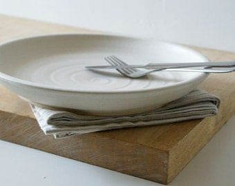 One hand thrown serving dish - shallow serving bowl in vanilla cream