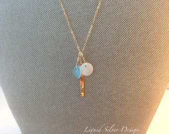Genuine BLUE SEA GLASS opal disc gold bar on Delicate Thin 14K Gold Filled Fill Chain necklace Made in Hawaii Gift for bff gf wedding beach