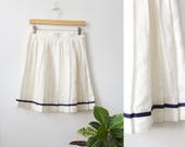Vintage 80s White Linen Pleated Tennis Skirt Size 4
