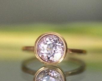 Holidays Sale - Kunzite 14K Rose Gold Ring, Engagement Ring, Gemstone Ring, Stacking Ring,  - Made to Order