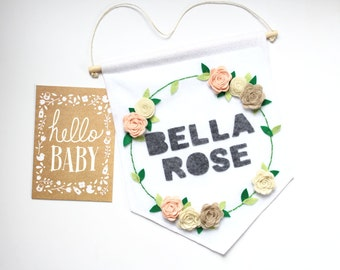 Rose Wreath Custom Name Large Wall Hanging . Rose Wall Banner . Personalized Baby Name Flag . Wall Art . Nursery Decor . Gift for Baby Girl