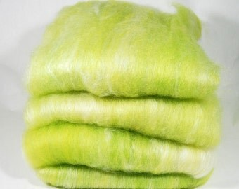 BFL/Silk Key Lime White Spinning Batts - 4 ounces