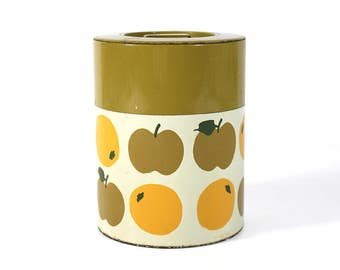 Retro Tin Canister - Hand Painted Fruit