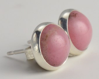 rhodonite 8mm earrings in sterling silver pair