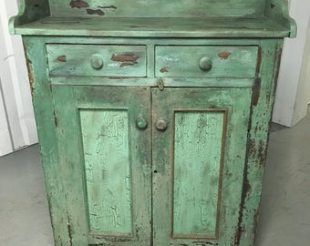 Beautiful Primitive Pie Safe Cupboard Dry Sink Cabinet Old Green Paint 51.5h48h42w16d17.5d Shipping is not free