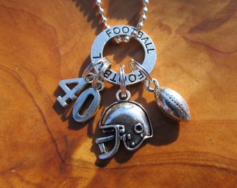 I LOVE FOOTBALL Necklace - Personalize - Choose any Team Number - Great gift for Football Player