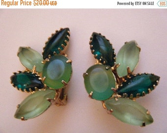 SALE Lush Shades of Green Earrings Clip