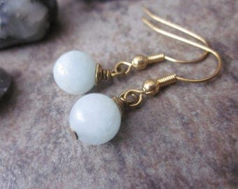Amazonite Orb Earrings, Gold Plated Wire, Pastel Blue Gemstone Round Drop Earrings, Minimalist, Ready to Ship, Throat Chakra Stone, Dainty