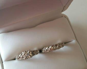 Vintage 14kt a White Gold Wedding Ring Set