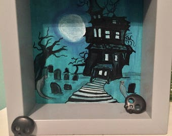 Spooky Haunted House Painting - Art Painting 4 x4 with Light Gray Frame