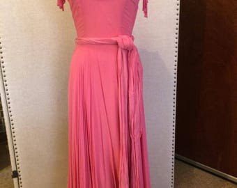 1930s Long Pink Chiffon Evening/Prom Gown