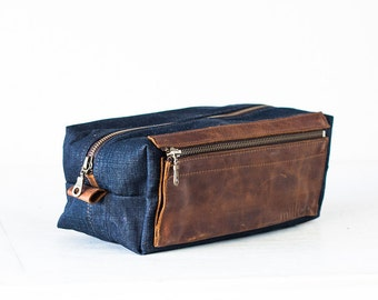 Travel case in blue jeans and brown leather, accessory case toiletry storage organizer groomsman gift case - Skiron travel case