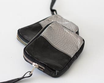 Small leather phone wallet in black and silver, zipper pouch zipper phone case money bag zip purse - Myrto Zipper pouch