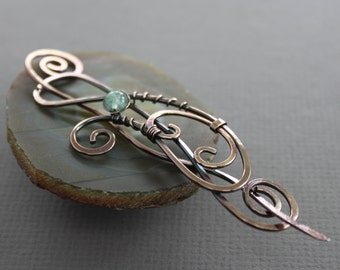 Flowing shawl pin or hair pin with aquamarine stone - Scarf pin - Hair barrette - Hair slide - Fibula - Hair accessory