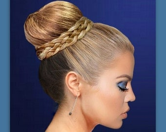 wedding bridal crown bun wrap accent hair braid braided ballet custom color addition for hairstyle dance acedemy updo accessory hairpiece