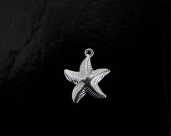 One Sterling Silver Starfish Charm 15x18mm, Made in USA