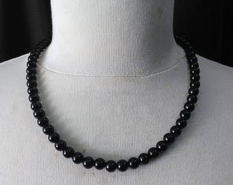 Retro black beads, necklace ready to ship