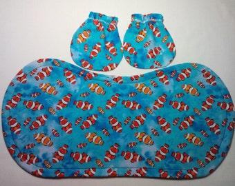 Nemo Clown Fish Baby Mitts and Burp Cloth Combo